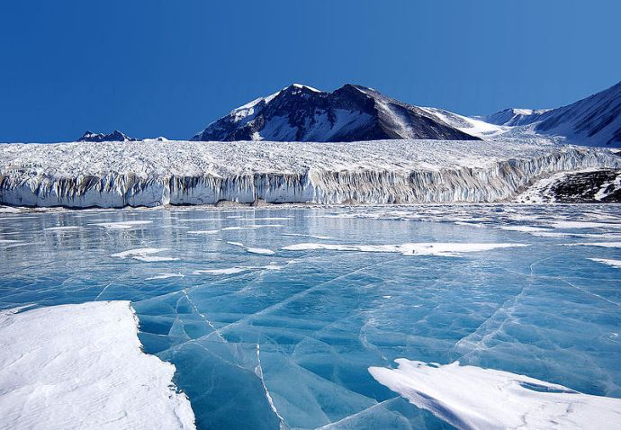 blue ice covering Lake Fryxell, in the Transantarctic Mountains