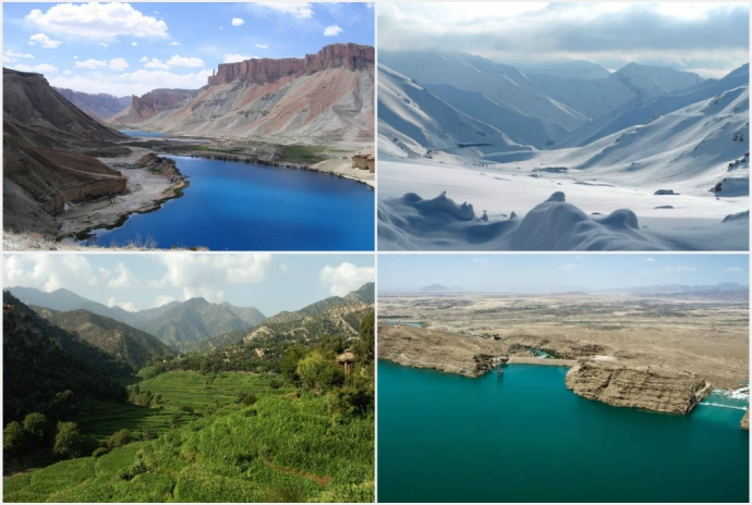 Afghanistan collage, from left to right: 1. Band-e Amir National Park in Bamyan province, 2. The Salang Pass in Parwan province, 3. Korengal Valley in Kunar province, 4. Kajaki Dam in Helmand province.